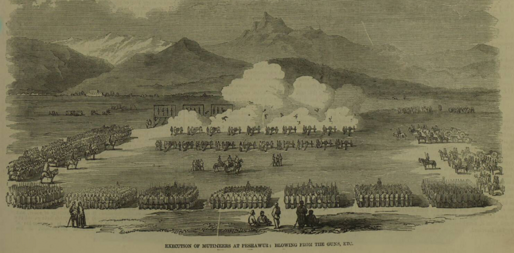 Suspect mutineers executed at Peshawar on 10 June 1857.  The Illustrated London News, 3 October 1857, p. 333.