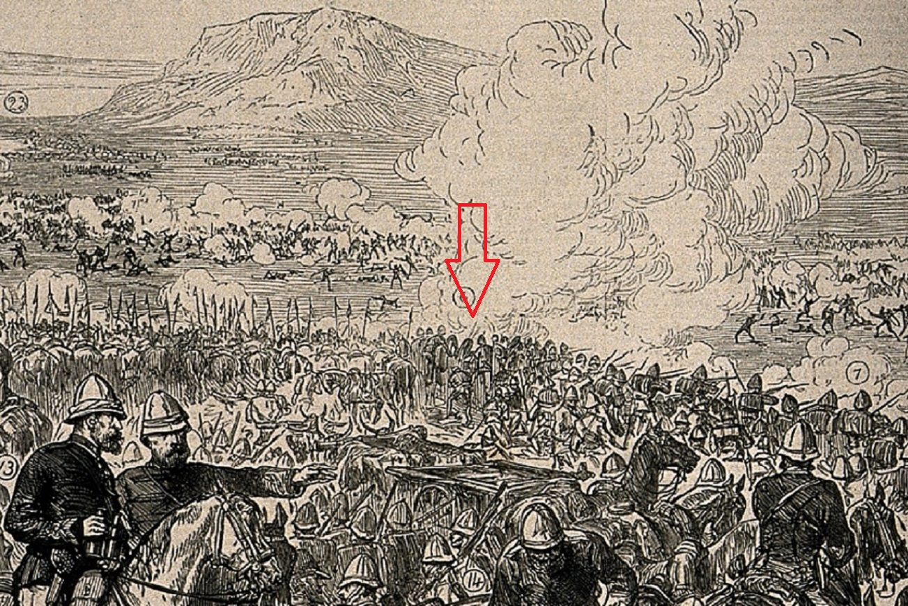 This enlargement of the image above reveals a Gatling gun ( see the red arrow ), smoke and carnage, more like a massacre than a battle -   CC License - Welcome Images - Wikimedia