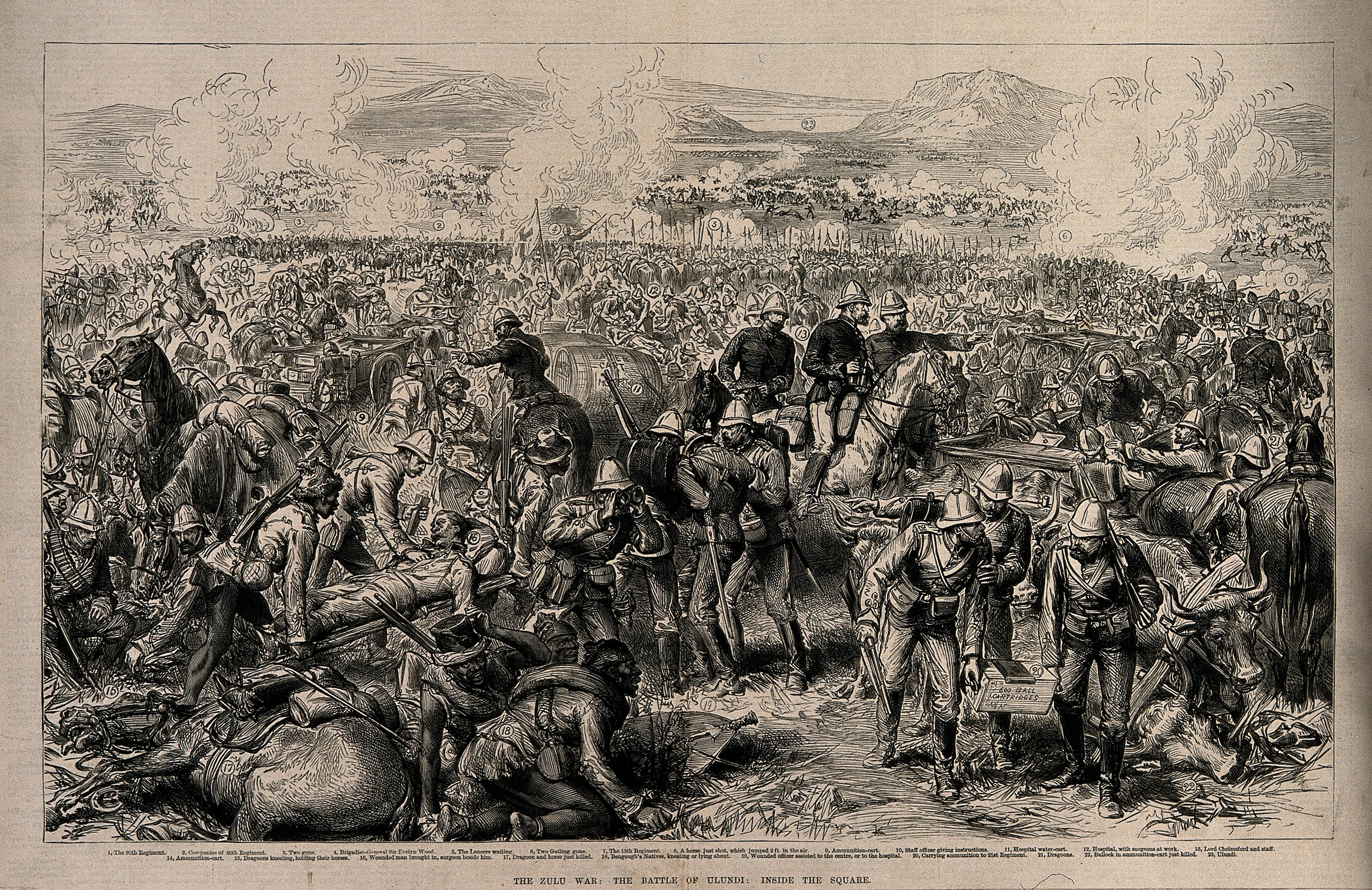 Wood engraving of the 'Battle of Ulundi.' The usual glorification of British heroism in the foreground contrasts with an almost hidden Gatling gun reaping devastation in the background (upper right). – CC License – Welcome Images – Wikimedia.