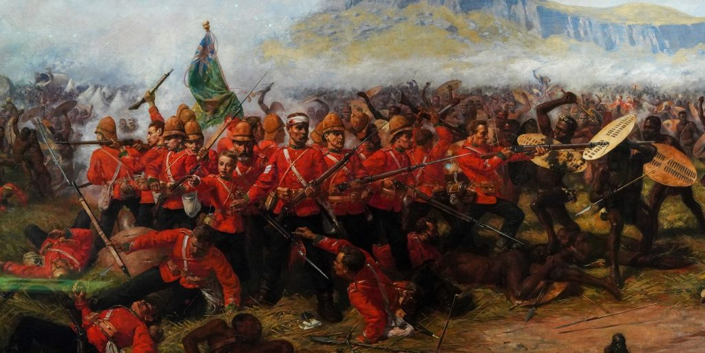 Another piece of Victorian propaganda shows the Battle of Isandlwana - like Rorke's Drift it was fought a day earlier on 22 January. Oil on canvas by Charles Edwin Fripp - National Army Museum - I didn't notice any reference in the museum to the massacre of Zulus the following day at Rorke's Drift - Photo by Alisdare Hickson 2021 BY-NC