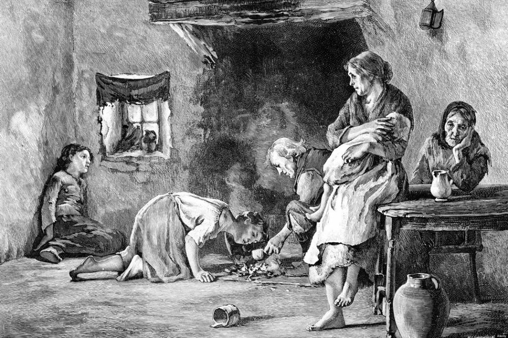 An Irish family during the famine.  Public domain via Smithsonian.mag.com. - image used here to illustrate - 22.09.1846 - The Times argues Ireland's potato famine is a blessing