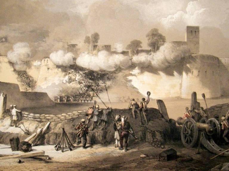 The storming of Multan - sketch by John Dunlop c. 1849