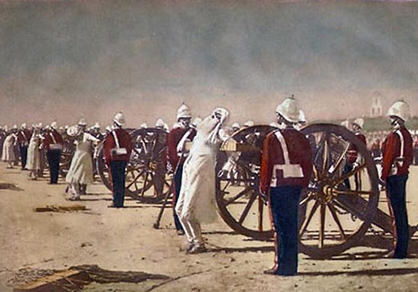 The most feared of executions - men about to be blown from the guns.