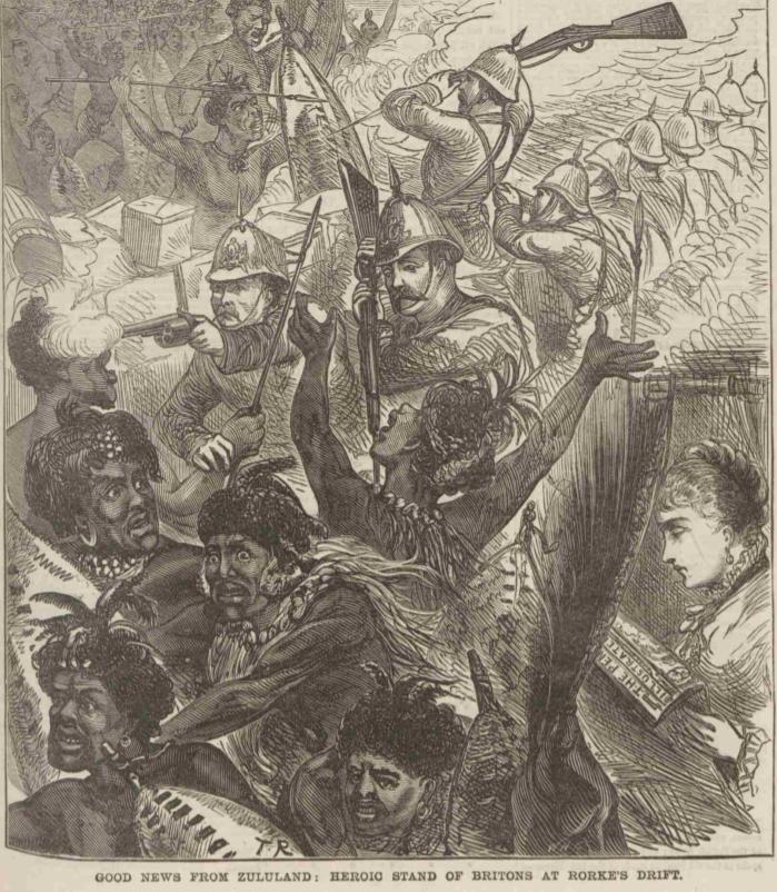 The 'heroic stand' of British troops at Rorke's Drift as depicted in the Penny Illustrated Paper, 1 March 1879.